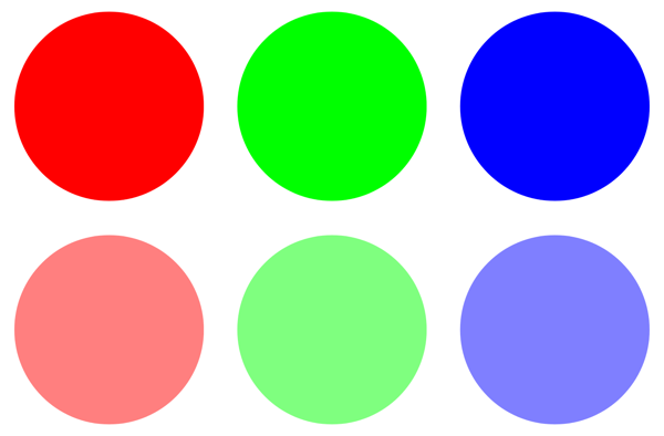 Red, Green, and Blue at full opacity and about 50% opacity using RRGGBBAA notation