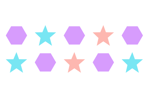 An illustration of how the nth-child pseudoclass works with the of S clause. There are ten elements. Every odd element is a purple hexagon. Every even element is a star. Of the star elements, the first, third, and fifth stars are blue. The second and fourth stars are orange.